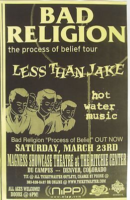 "Bad Religion /less Than Jake 2002 ""process Of Belief Tour"" Denver Concert Poster"