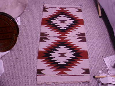 "Vintage NAVAJO Hand Woven WOOD RUG--17"" x 34"" 'DOUBLE DIAMOND' Pattern"