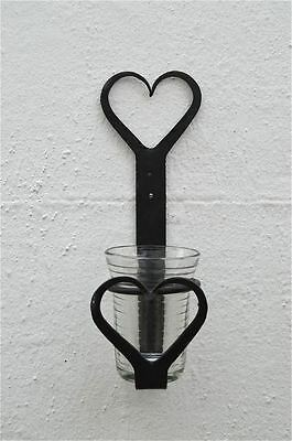 Beautiful Wrought Iron Shaker Heart Toothbrush Holder With Ribbed Glass