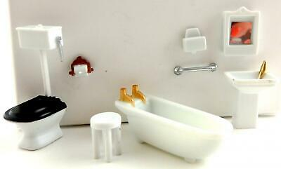 Melody Jane Dolls House Miniature 1:48 Plastic Bathroom Furniture Set Suite