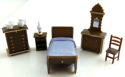 Melody Jane Dolls Houses Miniature 1:48 Plastic Bedroom Furniture Set Suite