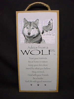 "ADVICE FROM A WOLF Wolves WISDOM wood 10"" X 5"" SIGN wall NOVELTY PLAQUE animal"
