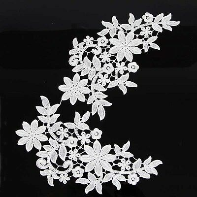 1Pair White Embroidered Vine Floral Trims Venise Sew Appliques Wedding Costumes