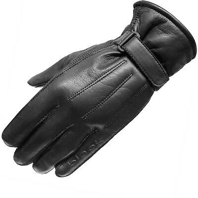 Black Vapour Leather Motorcycle Motorbike Cruiser Bike Scooter Stretch Gloves