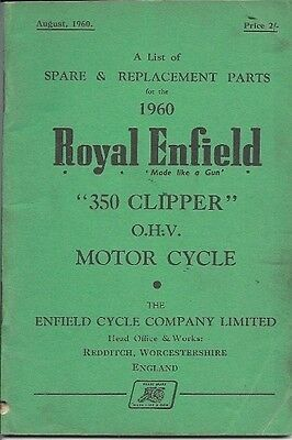 Royal Enfield 350 Clipper O.h.v. Motor Cycle  Spare  Parts Booklet 1960.