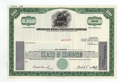 SPECIMEN - American Maize-Products Company Stock Certificate