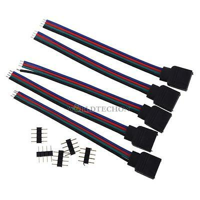 5x 4 PIN 10M Female RGB Connectors Wire Cable For 3528 5050 SMD LED Strip Lights