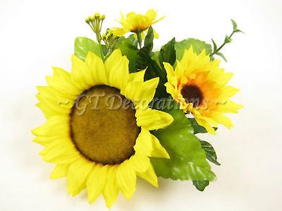 Set of 6 Artificial Silk Flowers Large Yellow Sunflower Eucalyptus Candle Rings