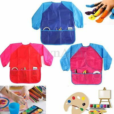 Kids Waterproof Craft Apron for Drawing Painting Cooking Smock With 3 Pockets