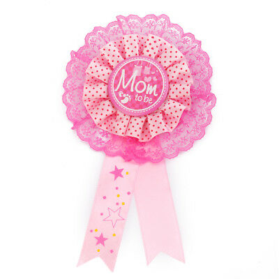 """NEW """"Mom To Be"""" Award Ribbon Rosette Badge Pin Baby Shower Party Favors Pink"""