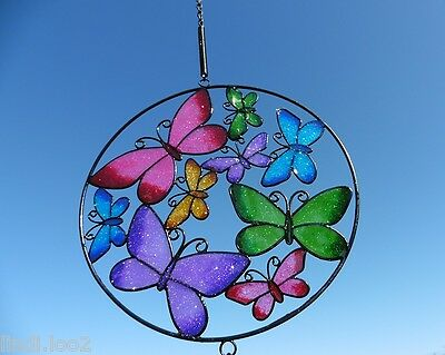 Stunning Circle Of 9 Butterfly Wind Chime / Suncatcher Mobile - Windchime