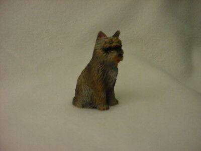 CAIRN TERRIER brindle puppy TiNY FIGURINE Resin Dog HAND PAINTED MINIATURE Mini
