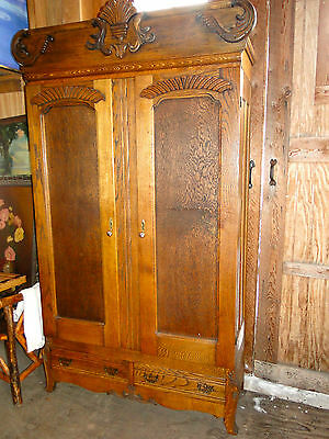Large  Oak  Armoire With  Carvings