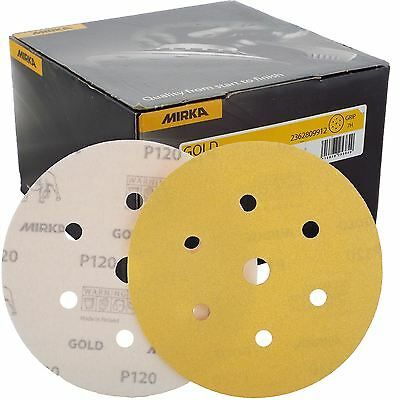 "Mirka Gold Hook-It DA Sanding Discs Ø 150mm 6"" 120 Grit 6+1 Hole Sander Pads"