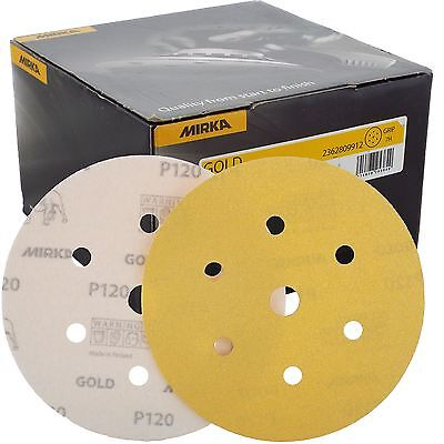 "Mirka Gold Hook-It DA Sanding Discs � 150mm 6"" 120 Grit 6+1 Hole Sander Pads"