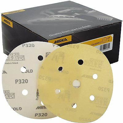 "Mirka Gold Hook-It DA Sanding Discs � 150mm 6"" 320 Grit 6+1 Hole Sander Pads"