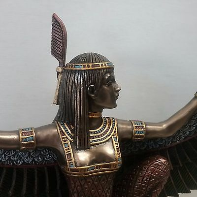 Goddess Maat Law Justice Statue Kneeling Winged Ancient Egyptian Figurine #1507