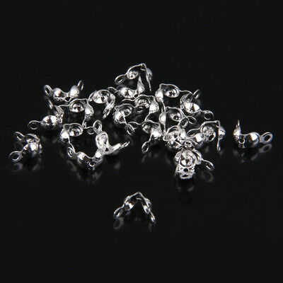 Pack of 20pcs Silver Plated Clamshells Bead Tips Ends Great Jewelry Findings 4mm