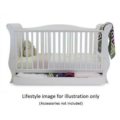 BabyStyle Hollie Sleigh Cot Bed & Drawer (Fresh White) with Foam Mattress