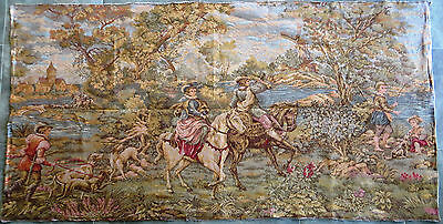 Huge Gorgeous Romantic French Tapestry Gobelin Fabric Painting Wall Hanging