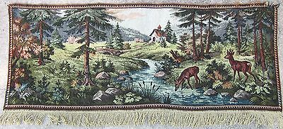 Large Vintage Tapestry Gobelin Deer Hunting Country Sceney Painting Wall Hanging