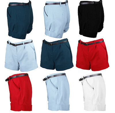 Womens Ladies Shorts With Belt Pockets Summer Casual Mini Stretch Hot Pants