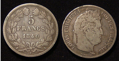 France 1840 silver 5 Francs, Louis Phillippe I, Fine.