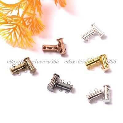 10Sets GOLD, SILVER PLATED,BRONZE,COPPER 2 Strands Magnetic Slide Clasps 15X10MM