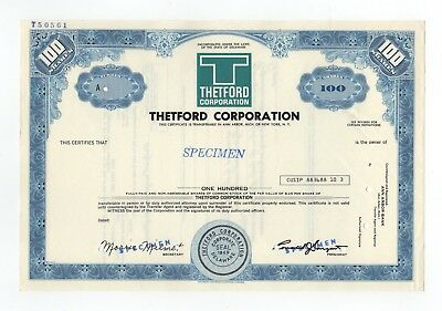 SPECIMEN - Thetford Corporation Stock Certificate
