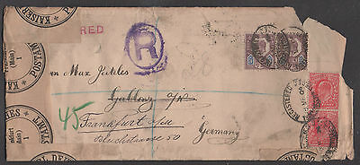 *Great Britain Registered Cover, SC# 128x2, 134x2, 1904