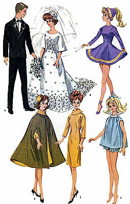 Barbie Doll Clothes PATTERN 6420 Bridal Gown Tuxedo Ice Skating outfit Cape