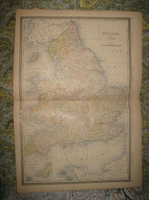 Large Superb Antique 1882 England Wales Scilly Islands Lands End Map Maritime Nr