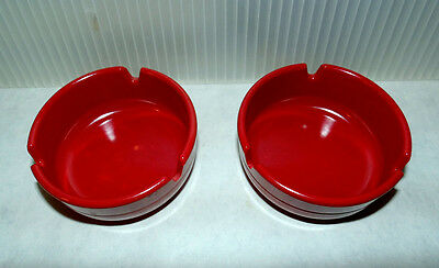 Mid Century Vintage Dealers Choice Melamine Small Ashtray Set 2 Red Poker Cards