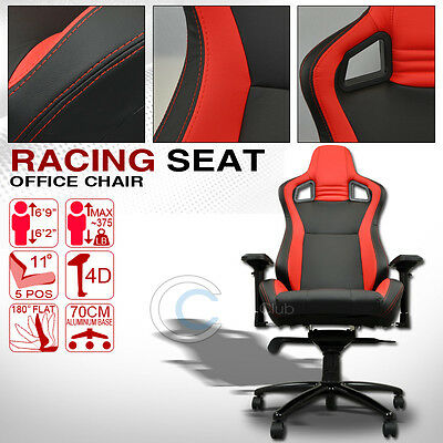 Universal Black/red Stitches Pvc Leather Mu Racing Bucket Seat Office Chair C11