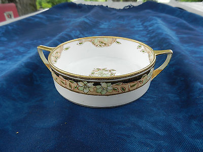 Hand Painted Nippon Double Handle Floral Gold Trimmed Dish Bowl