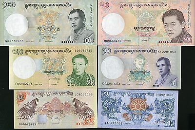 Bhutan Set 6 Pcs 1 5 10 20 50 100 Ngultrum 2011 2013 P 27 28 29 30 31 32 Unc