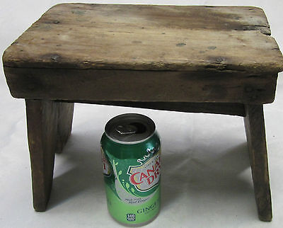 Cute Antique Foot Milking Stool Farm Bench Wood Seat Stand Painted Primitive