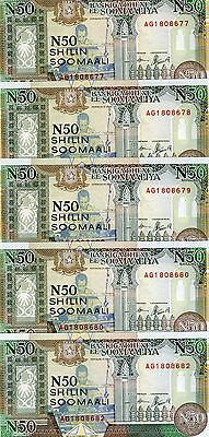 LOT Somalia, 5 x 50 shillings, 1991, Pick R2, UNC