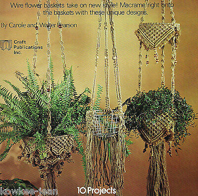 Wired for Macrame: wine rack, wallhanging, lanterns, plant hangers. Vintage book