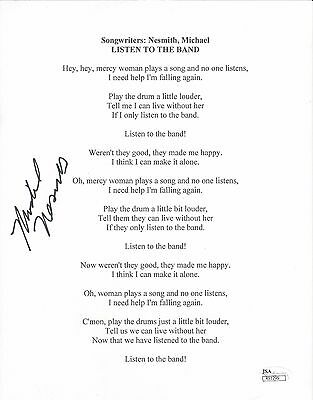 MICHAEL NESMITH Signed Autograph Lyrics Sheet Listen To The Band The Monkees