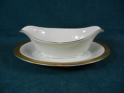 Castleton China Crescendo Gold Trim Gravy Boat on Attached Base