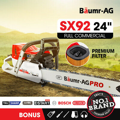 "NEW Baumr-AG 92cc Petrol Commercial Chainsaw 24"" Bar E-Start Chain Saw Pruning"