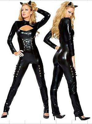 Sexy Catsuit Costume Faux Leather Erotic Jumpsuits Catwoman HALLOWEEN Dress