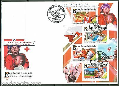 Guinea 2015 Red Cross Battle Against Malaria  Sheet  Fdc
