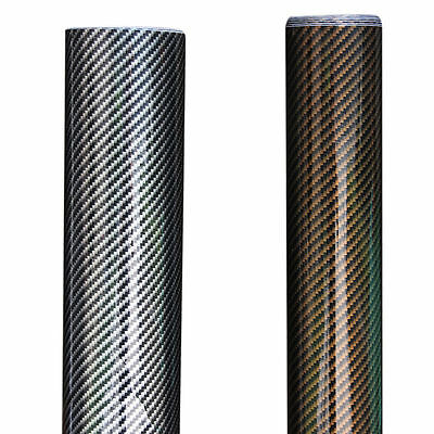 2D Carbon Fiber Bubble/Air-Free Glossy Vinyl Film Wrap Sheet Sticker Multi sizes