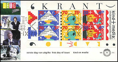 Netherlands 1993 Child Welfare, Media M/S FDC First Day Cover #C28045