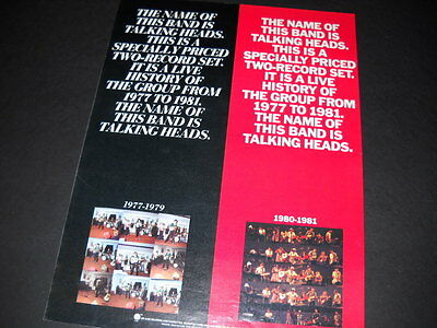 TALKING HEADS 1982 Promo Poster Ad THE NAME OF THIS BAND...THE NAME OF THIS BAND