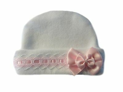 Baby Girls' Lovely White Baby Hat with Pink Lace - Preemie and Newborn Sizes