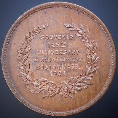 US 1901 Boston Evacuation Medal   Massachusetts Washington Token UNC Brown
