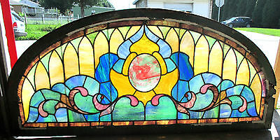 ~ BIG ANTIQUE AMERICAN STAINED GLASS WINDOW 71 x 32.5 ~  ARCHITECTURALSALVAGE ~